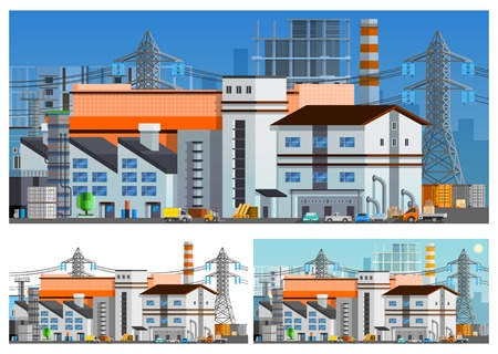 compositions: Factory buildings orthogonal compositions set flat isolated vector illustration