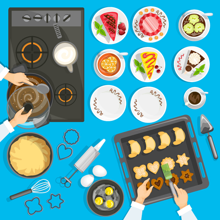 biscuit: Confectioner Workplace Top View Set. Confectionery Vector Illustration. Pastry Cartoon Symbols. Baker Workplace Design Set.  Confectioner Isolated Set.