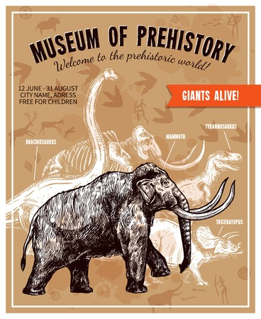 prehistory: Sketch hand drawn invitation to museum of prehistory poster with mammoth and dinosaurs on beige background with rock paintings and footprints vector illustration