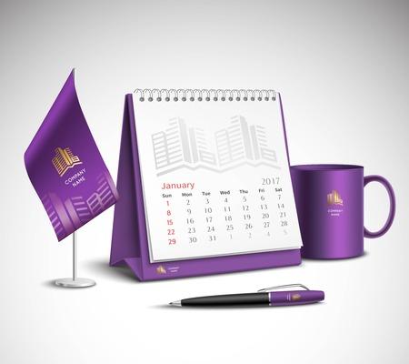 Kalender pen vlag en beker corporate identity mockup set van paarse kleur voor uw ontwerp op lichte achtergrond realistische vector illustratie