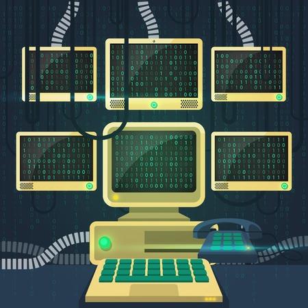 bytes: Phone old computer monitors with matrix flat vector illustration