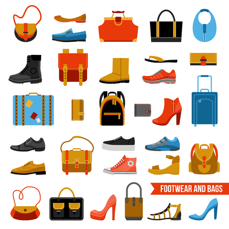 wellingtons: Flat colored collection of fashion accessories with man and woman footwear reticules suitcases portmanteau bags isolated vector illustration