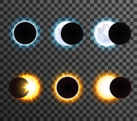 phase: Different phases of sun with rays and shining moon cartoon isolated icons set on transparent background vector illustration