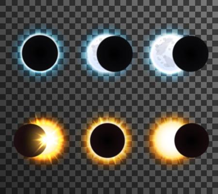 Verschiedene Phasen der Sonne mit Strahlen und leuchtenden Mond Cartoon isoliert Symbole auf transparentem Hintergrund Vektor-Illustration