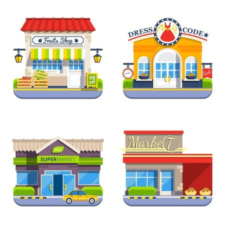 Negozio piatto icone colorate collezione di piccolo negozio mini market supermercato e negozio di vestiti isolato illustrazione vettoriale Vettoriali