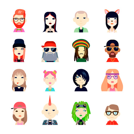 subcultures: Subcultures and people icons set with hippie and hipster flat isolated vector illustration