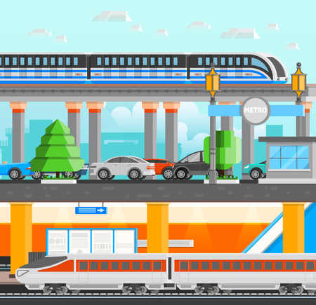 monorail: Subway underground design concept set with modern high speed monorail and metro trains and cars flat vector illustration