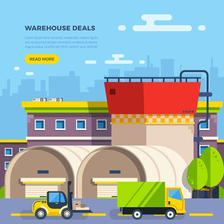 outdoor goods: Big warehouse building with cart and van for goods delivery on cityscape background flat vector illustration