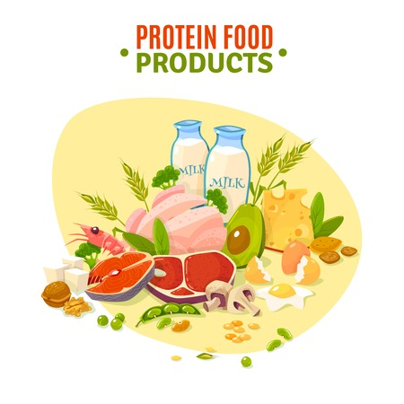 ration: Protein containing products variety for healthy daily ration including dairy and vegetables flat background poster abstract vector illustration