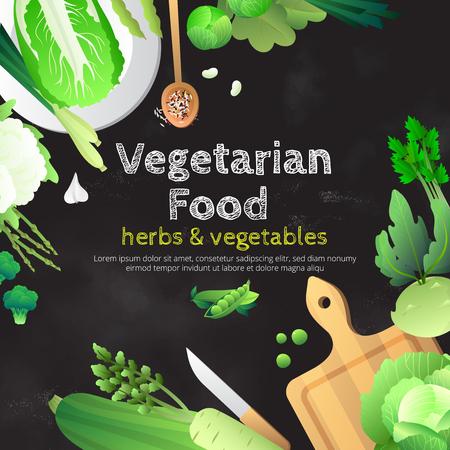 Vegetarisch voedsel bord reclameposter met biologische verse groene groenten en kruiden op snijplank vector illustratie