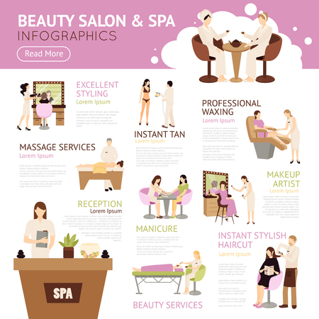 Illustrazione vettoriale salone di bellezza Spa persone Infografica Archivio Fotografico - 59353084