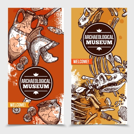 archaeological: Two hand drawn archeology vertical banners with images of exhibits of archaeological museum and tools for excavations vector illustration