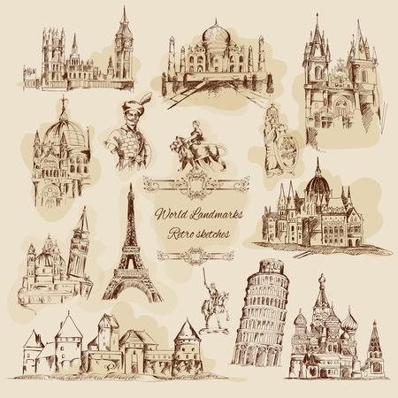 hagia sophia: World landmarks sketch sepia graphics vintage icons set isolated vector illustration Illustration