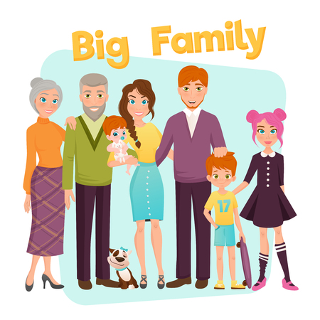 three children: Big happy family with parents grandparents three children and dog on blue and white background flat vector illustration