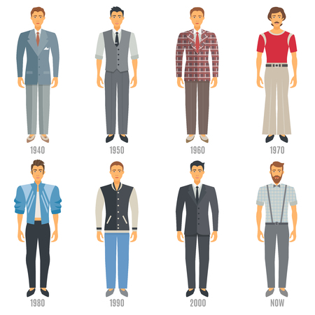 informal clothes: Men Fashion Icons Set. Fashion Evolution Vector Illustration. Man Fashion Development Decorative Set.  Fashion Evolution Design Set. Fashion Evolution Flat Isolated Set. Illustration