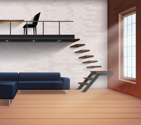 loft interior: Realistic loft interior concept in minimalistic style with sofa stairs table and chair vector illustration