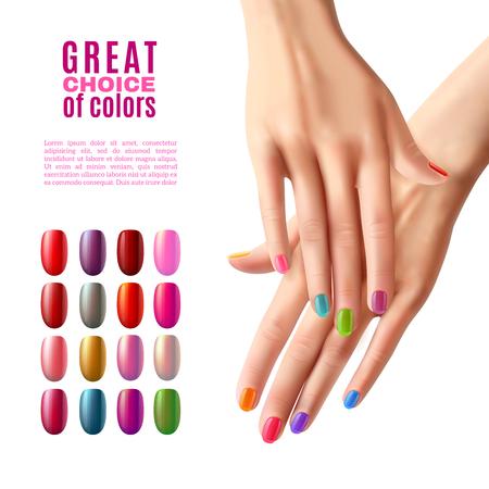 Affiche de publicité manucure avec choix des ongles en acrylique faux colorés dans les tons de vernis modernes réaliste illustration vectorielle Vecteurs