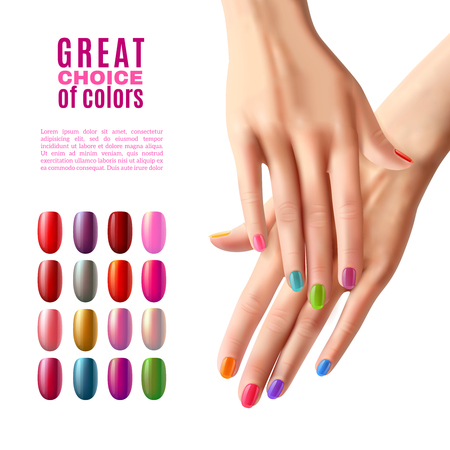 Manicure advertisement poster with choice of colorful false acrylic nails in modern polish shades realistic vector illustration