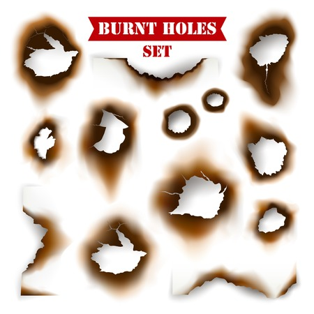 pierce: White torn sheet of paper with burnt holes background flat vector illustration