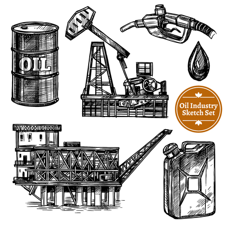 filling station: Hand drawn sketch oil industry set with oil offshore platform image and elements of  filling station isolated vector illustration