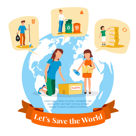 sorting: Environmental agency flat poster with information on waste collection and sorting for recycling symbols abstract vector illustration Illustration