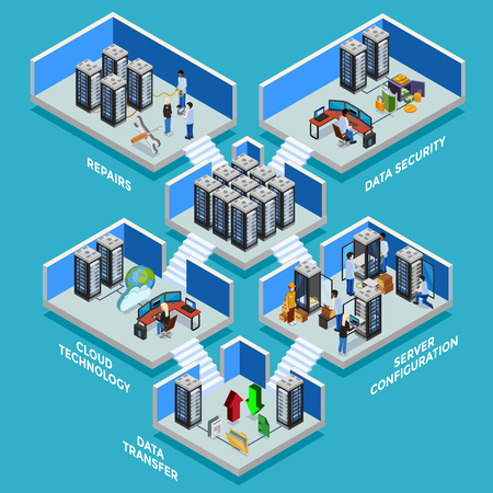Rechenzentrum isometrische Konzept mit Datensicherheit Serverraum-Datenübertragung und Cloud-Technologie 3D-Kompositionen flach Vektor-Illustration