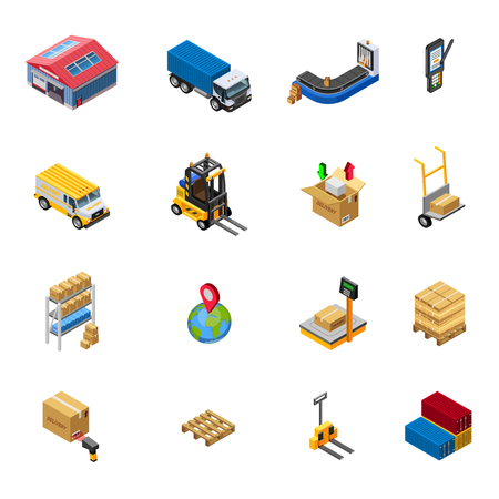 shipment tracking: Warehouse isometric icons set with delivery transport and related elements on white background isolated vector illustration