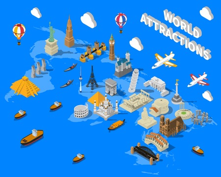 World famous touristic attractions isometric map poster with leaning pisa tower and empire state building vector illustration Illustration