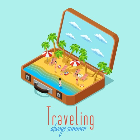 sunny beach: Summer vacation travel isometric poster with vintage suitcase  and sunny palm beach composition retro abstract vector illustration Illustration