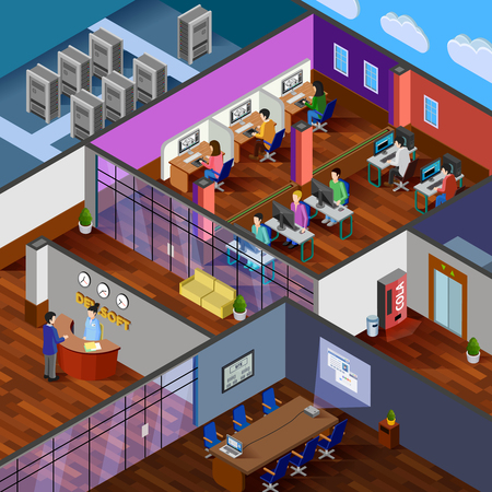 server room: Development office isometric design concept with reception server room conference hall and working place for software developers flat vector illustration
