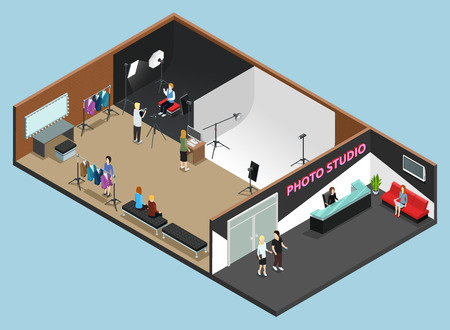 high fashion: Photo studio reception interior and high fashion photography shooting with white and black background isometric vector illustration Illustration