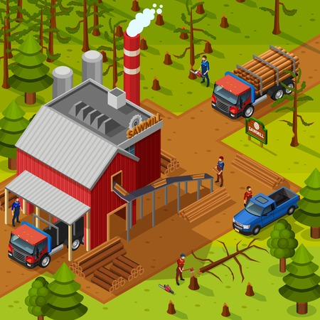 log on: Lumberjack isometric composition with sawmill building vehicles for logs transportation and woodcutters on forest background flat vector illustration Illustration