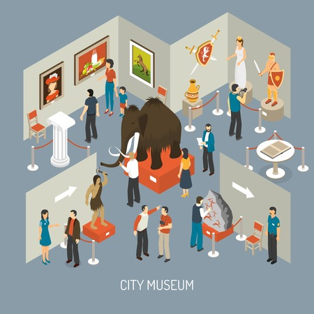finds: Cultural history city center museum exhibits galleries with antique archaeological finds isometric composition poster abstract vector illustration
