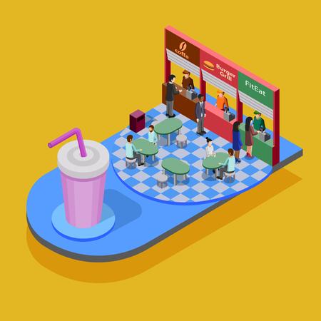 Fast concepto isométrica de alimentos con gran vaso y la gente comiendo en un restaurante de comida rápida en el fondo amarillo ilustración vectorial