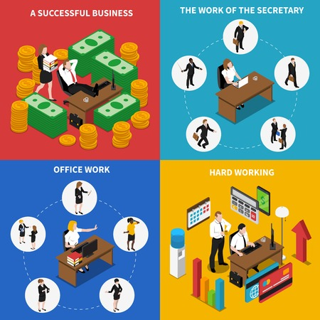 Business office work concept 4 isometric icons square poster with businessman manager secretary abstract isolated vector illustration Vetores