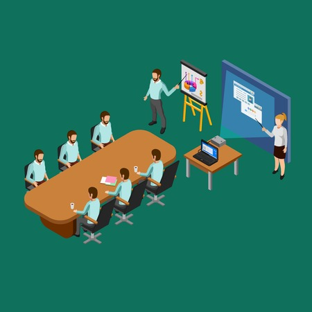 clerks: Isometric presentation room concept with clerks listening to reports vector illustration
