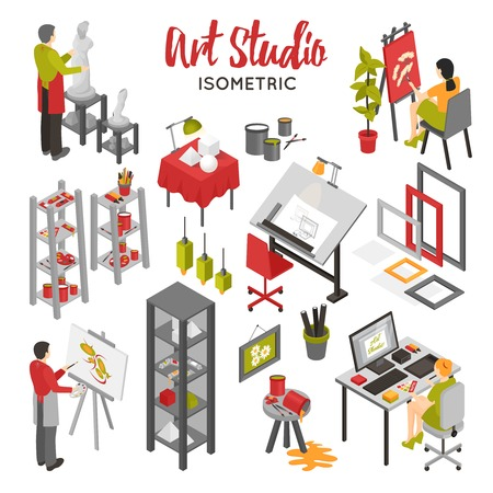 objects equipment: Art studio isometric set with painters graphic designer sculptor equipment and interior objects on white background isolated vector illustration