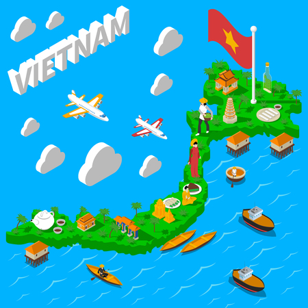 Vietnam mapa de puntos de referencia para los turistas con la bandera nacional de los alimentos y los símbolos culturales cartel isométrica ilustración vectorial abstracto Foto de archivo - 59636324