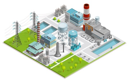 Vector illustration of boiler factory for production of thermal and electrical energy with power line supports isometric concept Vettoriali
