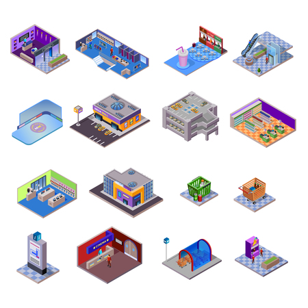 shopping mall: Shopping mall objects set with different departments and related elements on white background isolated isometric vector illustration