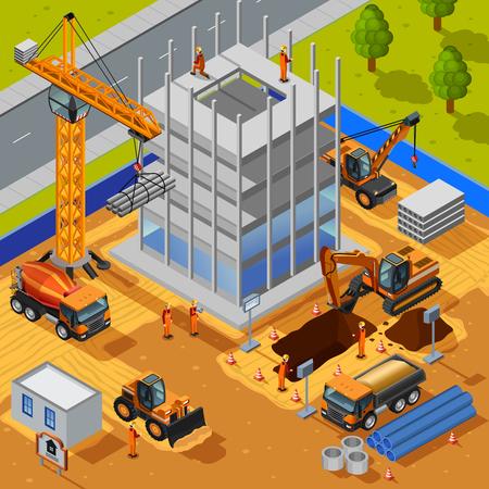 Construcción de edificio de varios pisos concepto de diseño isométrica con los trabajadores de la grúa excavadora tubos de losas de hormigón ilustración vectorial plana Ilustración de vector