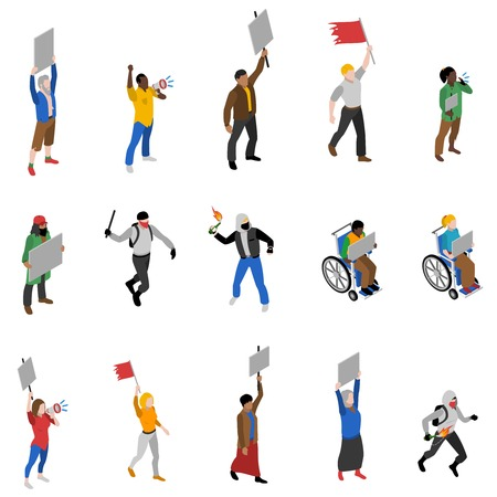 riot: Protest march rally and static nonviolent demonstration participants with  streamers isometric icons set abstract isolated vector illustration Illustration