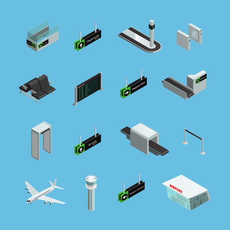 facilities: International airport terminals signs services and facilities isometric icons set on sky blue background isolated vector illustration
