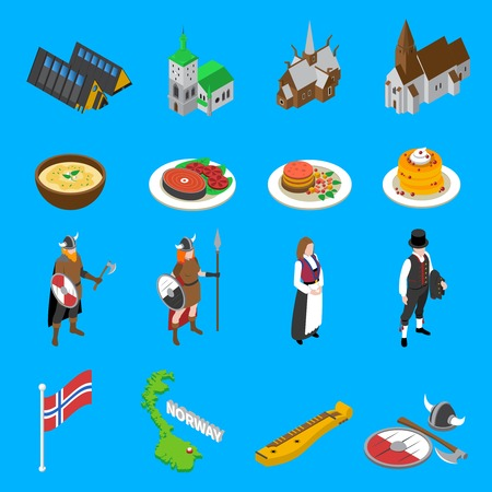 Norway tourists attractions with national flag cultural symbols and food isometric icons set abstract vector isolated illustration