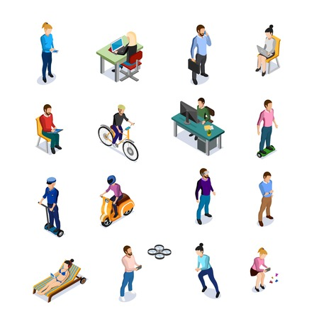 Isometric people icons set with men and women using different kinds of transport and electronic devices on white background Иллюстрация