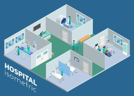 Isometrische medische ziekenhuis interieur bekijken MRI-scan operatiekamer en intensive care-afdeling poster abstract vector illustratie Stock Illustratie