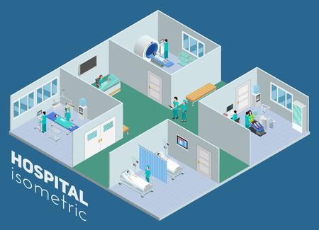 Isometric medical hospital interior view mri scan operation room and intensive care ward poster abstract vector illustration