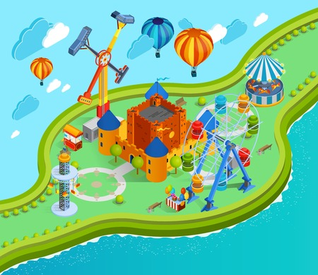 Amusement park isometric cartoon composition with giant swing colorful aerostats with baskets ferris wheel and castle vector illustration Illustration