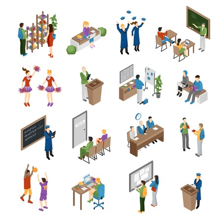 Pupils students graduates and teachers at school college and university isometric set isolated vector illustration