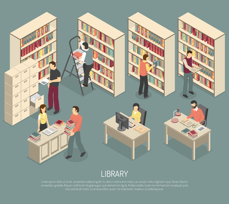 librarian: Scientific library published materials shelves with ladder and online documents and catalogs access computers isometric abstract illustration